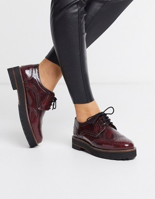 Asos Design DESIGN Mottle leather flat brogues in burgundy-Red