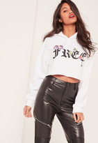 Missguided White Free Graphic Cropped Hoodie