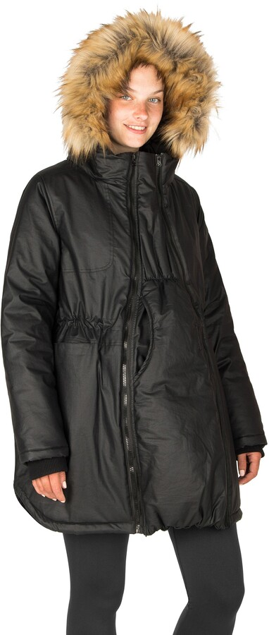 Thumbnail for your product : Modern Eternity Sofia Waxed 3-in-1 Maternity/Nursing Jacket with Faux Fur Trim