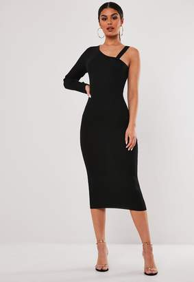 Missguided Stassie X Black Cut Out One Shoulder Knitted Midi Dress