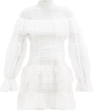 Carolina Herrera Tiered Floral-embroidered Tulle Dress - Ivory