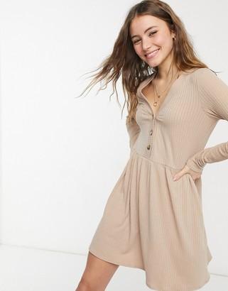 New Look cardigan style smock mini dress in camel