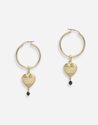 Dolce & Gabbana Hoop Earrings With Heart Pendant
