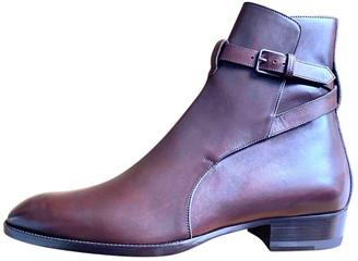 Saint Laurent Wyatt Jodphur Brown Leather Boots