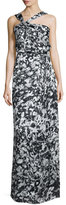 Parker Selena Asymmetric-Neck Floral Gown, Rorschach