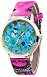 AMA(TM) Men Women Christmas Pattern Letter Print Leather Band Analog Quartz Vogue Wrist Watch (Hot Pink)