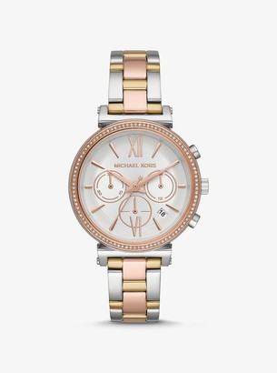 Michael Kors Sofie Pave Tri-Tone Watch