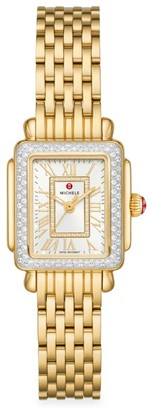 Michele Deco Madison Mini 18K Goldplated & Diamond Double-Wrap Bracelet Watch