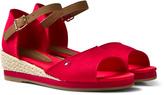 Tommy Hilfiger Red Branded Canvas Wedge Sandals