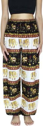BANJAMATHA Women's Smocked Waist Harem Hippie Trousers Boho Yoga Bohemian Pants (M