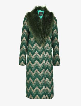 Pinko Libra chevron-jacquard coat with faux-fur collar