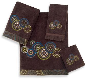 Avanti Mosaic Circles Java Bath Towels, 100% Cotton