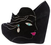 Dolce & Gabbana Suede Face Wedges