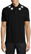 Givenchy Star-Print Knit Polo Shirt, Black