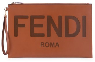 Fendi Large Logo Leather Pouch