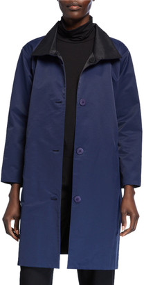 Eileen Fisher Reversible Button-Front Coat with Stand Collar