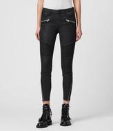 AllSaints Grace Biker Cropped Mid-Rise Skinny Jeans, Coated Black