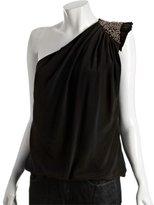 black silk chiffon one shoulder sequin detail tank