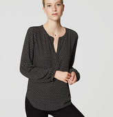 LOFT Dotted Mixed Media Lantern Blouse