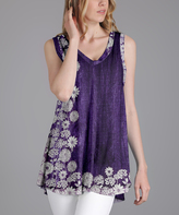 Lily Purple & White Floral V-Neck Tunic - Plus Too