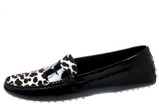 Tod's Black Patent Leather And Pony Hair Gommino Penny Loafers Size 39.5