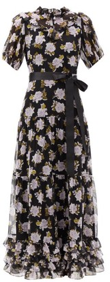 Erdem Ellinor Ruffled Floral-print Silk-crepe Maxi Dress - Lilac Black