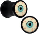 Body Candy Black Acrylic Blood Shot Blue Eye Glow in the Dark Saddle Plug Pair 2 Gauge