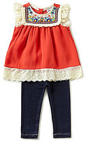 Rare Editions Baby Girls 12-24 Months Embroidered Eyelet-Trimmed Top & Solid Leggings Set