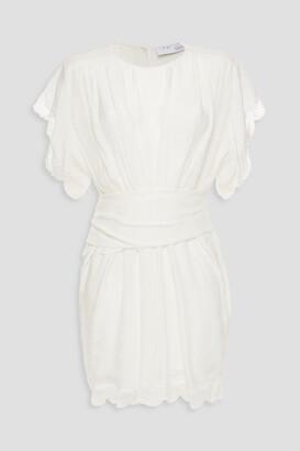 IRO Lace-trimmed Gathered Satin-jacquard Mini Dress
