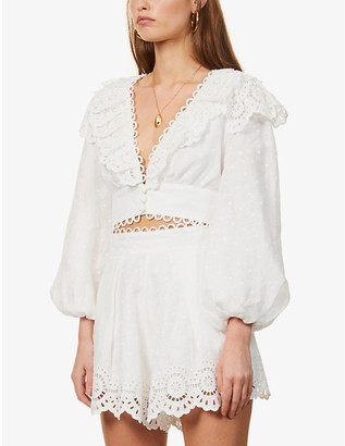Zimmermann Floral-embroidered cropped linen top