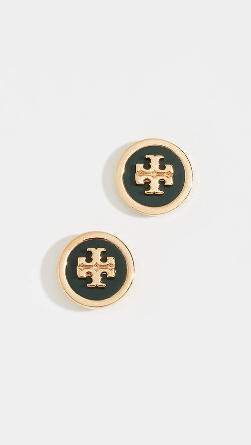 Tory Burch Enamel Raised Logo Stud Earrings
