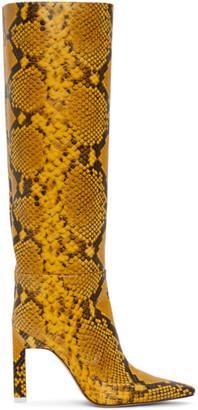 ATTICO Yellow Python High Heel Tall Boots