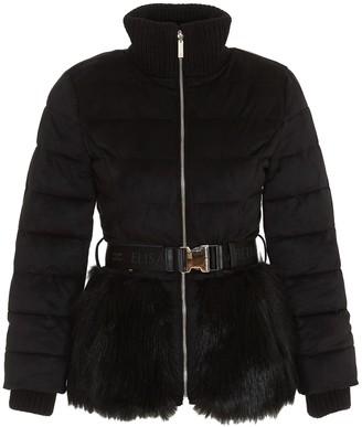 Elisabetta Franchi Faux Fur Belted Puffer Jacket