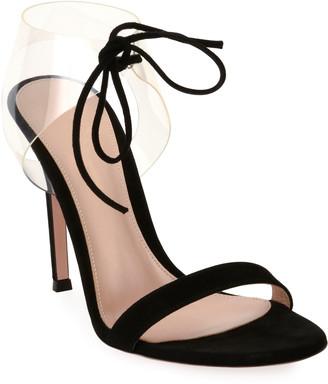 Gianvito Rossi Suede Sandals with Plexi Strap
