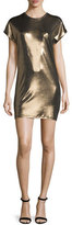 Halston Short-Sleeve Foil Jersey Mini Dress, Bronze