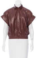 Barbara Bui Short Sleeve Leather Top