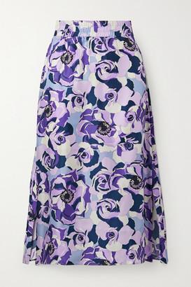 ART DEALER Floral-print Silk-satin Twill Midi Skirt - Purple