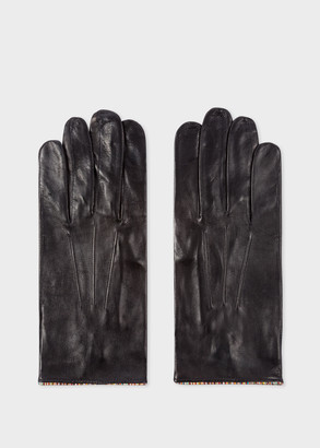 Men's Black Leather Gloves With 'Signature Stripe' Piping