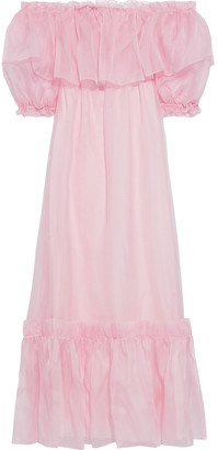 LoveShackFancy Tara Ruffled Gathered Silk-organza Maxi Dress
