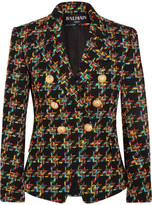 Balmain Double-breasted Houndstooth Tweed Blazer - Black