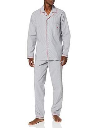 Hom Men's Sleek Long Woven Sleepwear Pyjama Set,Large