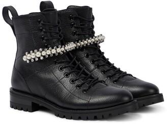 Jimmy Choo Cruz Flat embellished leather ankle boots