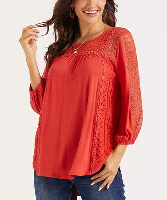 Suzanne Betro Weekend Women's Tunics 101red - Red Lace-Panel Long-Sleeve Tunic - Women & Plus