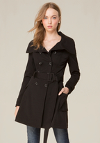 Bebe Pleated Flared Trench Coat