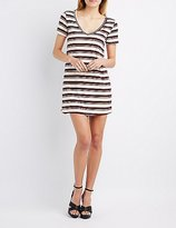 Charlotte Russe Striped V-Neck T-Shirt Dress