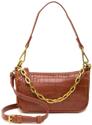 Most Wanted Design by Carlos Souza Crocodile Embossed Leather Chain Baguette Crossbody Bag
