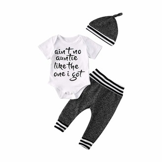 Bowanadacles 3 Pcs Infant Baby Boys Summer Outfit Set Letter Print Short Sleeve Romper + Stripe Pants + Baby Hat 3-24M (White 12-18 M)