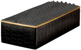 L'OBJET Crocodile Rectangular Desk Box - Gold - 23cm