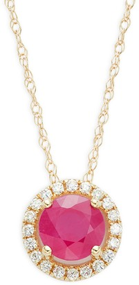 Saks Fifth Avenue 14K Yellow Gold, Ruby Diamond Pendant Necklace