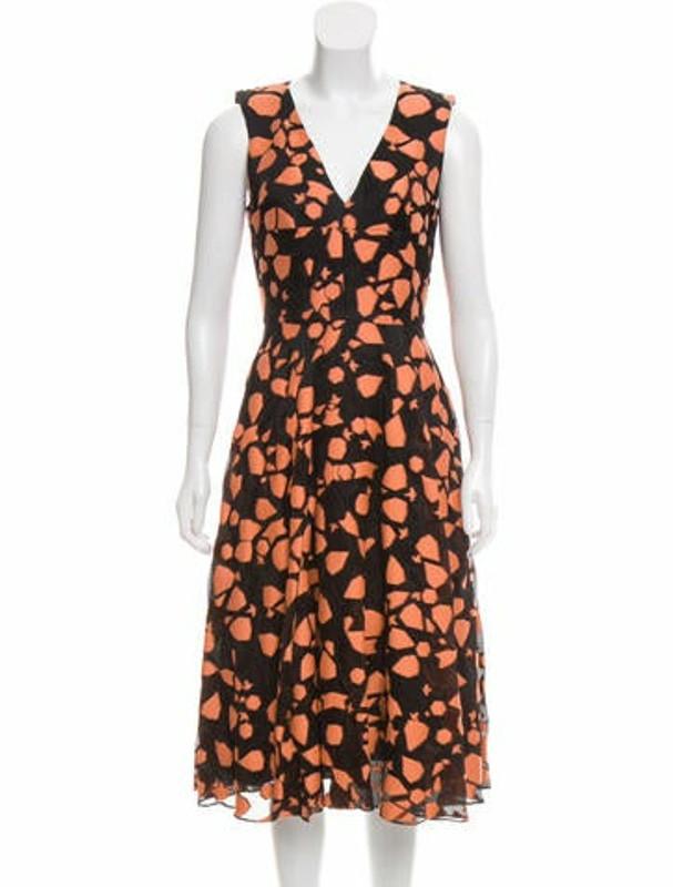 Lela Rose Sleeveless Midi Dress Orange